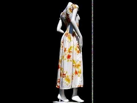 48804 Summer Smock Top Baby Doll Viscose Dress - Hawaiian Hibiscus Flower White Orange