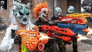 GUGU Nerf War : CID Dragon Nerf Guns Fight Criminal Group SKMAN Mask New Power