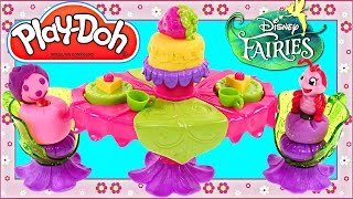 Play Doh Tink Bell Pixie Party Table from Disney Fairies Toy Collection Strawberry Cake Desert