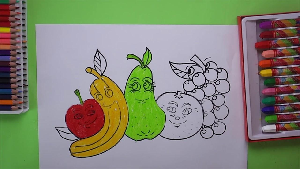 Elma Muz Armut Domates Ve Uzum Boyama Apple Banana Pear