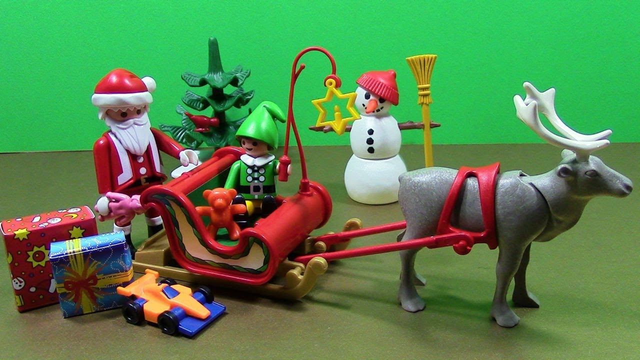 Playmobil Christmas with Santa Sleigh Reindeer Elf Snowman Toys ...