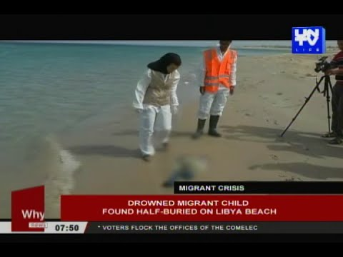 Drowned migrant child found half-buried on Libya beach