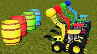 LAND OF COLORS! HAY SILAGE BALE SELLING WITH BARREL PLATFORM ! Farming Simulator 19 screenshot 4