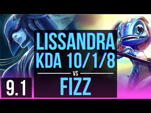 LISSANDRA vs FIZZ (MID) | KDA 10/1/8, Legendary | Korea Grandmaster | v9.1