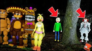 WILL THE ANIMATRONICS ESCAPE THE SCARY BALDI & CLOWN FOREST? (GTA 5 Mods FNAF RedHatter)