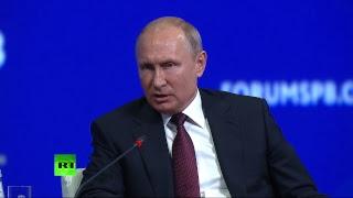 Путин, Макрон, Ван и Абэ принимают участие в пленарном заседании ПМЭФ