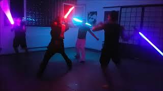 SaberArts 3 vs 1 lightsaber fight improvisations