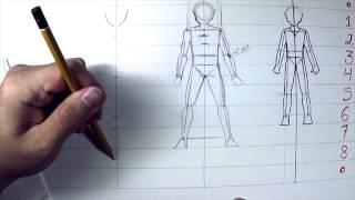 Como desenhar #8 - Proporção básica Masculina - How to draw basic proportion Pt 02