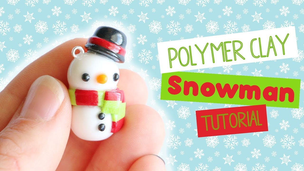 Polymer Clay Christmas Charms.Kawaii Christmas Snowman Polymer Clay Tutorial