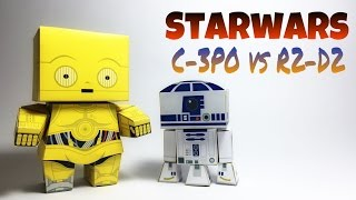 Star Wars R2D2 vs C3PO Paper Crafts tutorial !