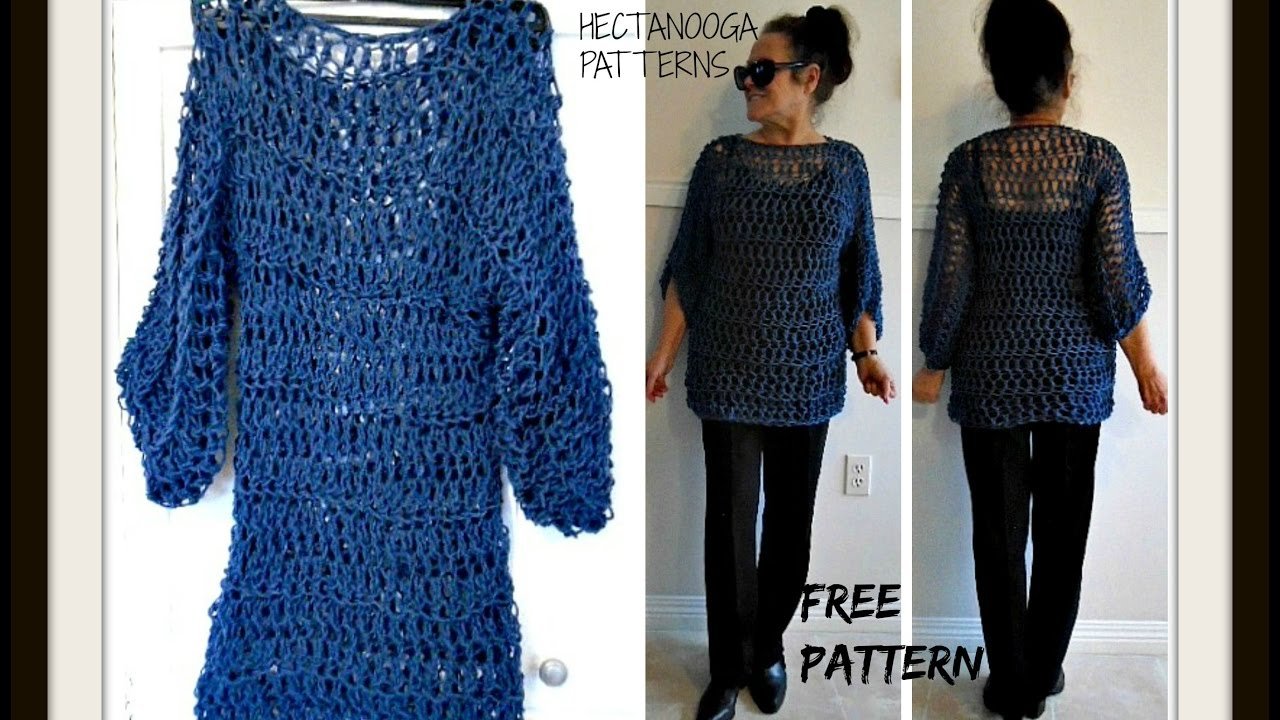CROCHET Open Mesh BIG T Pullover Sweater, free crochet pattern ...