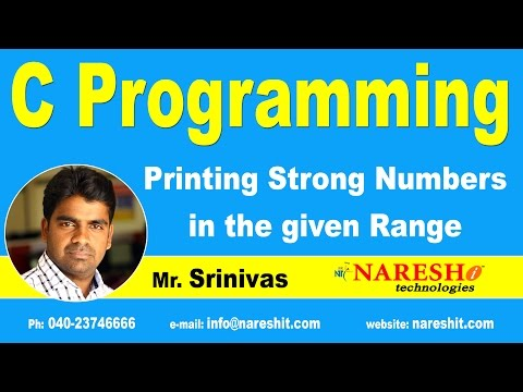Printing Strong Numbers in the given Range | C Language Tutorial | Mr. Srinivas
