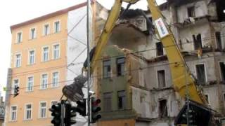 Abriss Delitzscher Straße 32 in Halle (Saale) Video 2