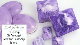 DIY Amethyst Melt and Pour Soap Tutorial by Spicy Pinecone