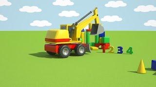 3D Мультфильмы про машинки - Собираем экскаватор погрузчик
