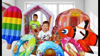Richard Pretend Play Hide and Seek with Inflatable Toys