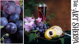 Learn to paint plump Realistic Grapes in a Still life Acrylic Tutorial