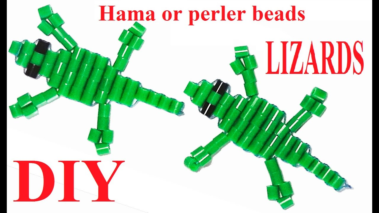how to make lizards with hama o perler beads and string tutorial