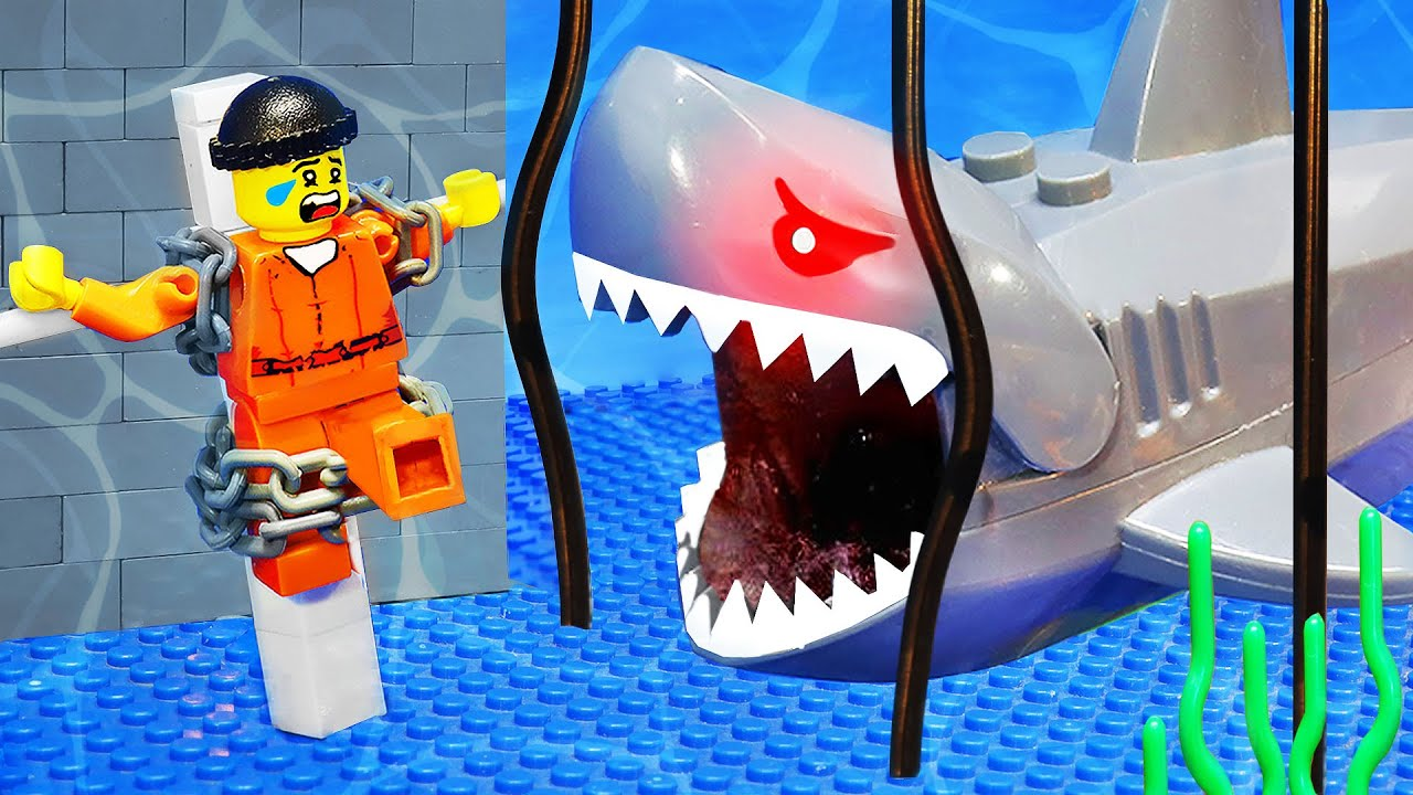LEGO CRAZY SHARK ATTACK UNDERWATER! Prisoner Escapes From Jaw and Jail   LEGO Land
