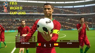Portugal vs Spain | FIFA World Cup 2018 | PES 2018 PC Gameplay