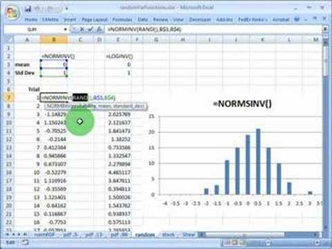 FRM: Using Excel to simulate standard random normal variable - YouTube