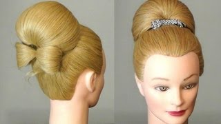 Repeat youtube video Прическа: Бабетта с бантом из волос.  Bun with hair  bow for long hair