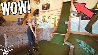 CRAZY HOMEMADE MINI GOLF COURSE! MINI GOLF HOLE IN ONE AND ONE OF A KIND HOLES!