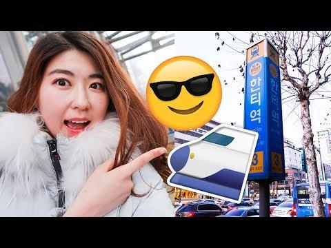 Real Life Korean Subway! (+ Learn Korean, Tips)!   한국언니 Korean Unnie
