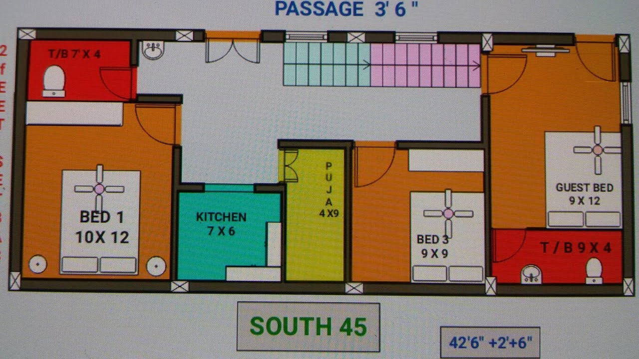 22 x 45 18 x 42 north east house plan naksha map for House map 15 x 40