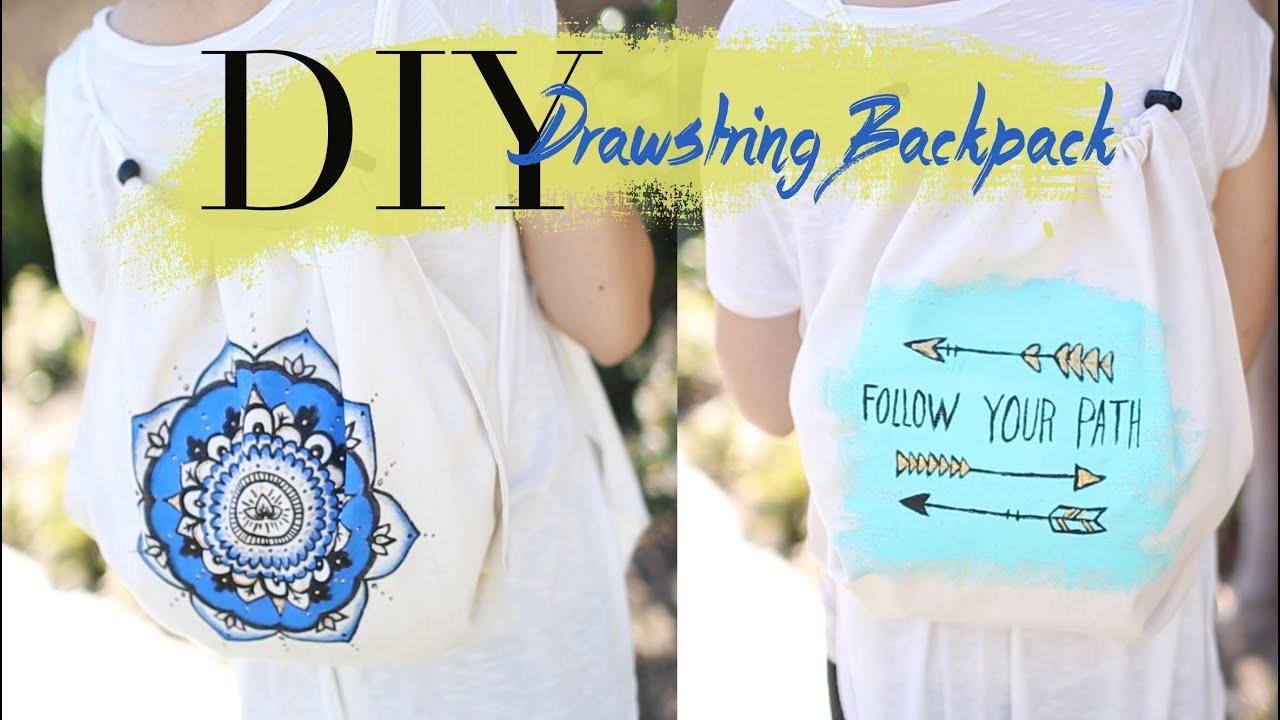 DIY Cute & Easy Drawstring Backpack {NO SEW} | ANN LE - YouTube