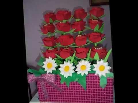 Arreglo De Rosas Con Chocolate Dentro Hechas De Foami