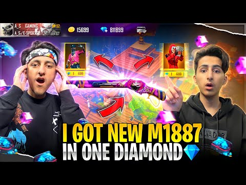 Got New M1887 Skin In 1 Diamond Spin💎 😍 Luckiest Subscriber Account - Garena Free Fire