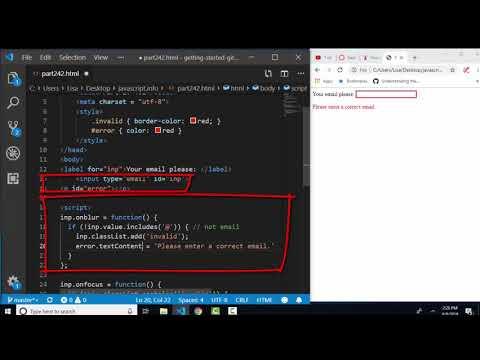 javascript.info The Modern JavaScript Tutorial Part 2: 4.2 Focusing: focus/blur thumbnail