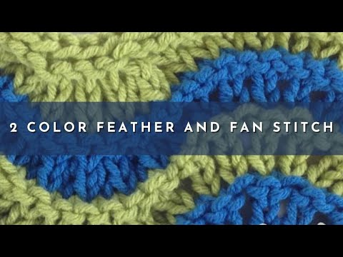 How to Knit the Two Color Feather Fan Stitch (english style) - YouTube