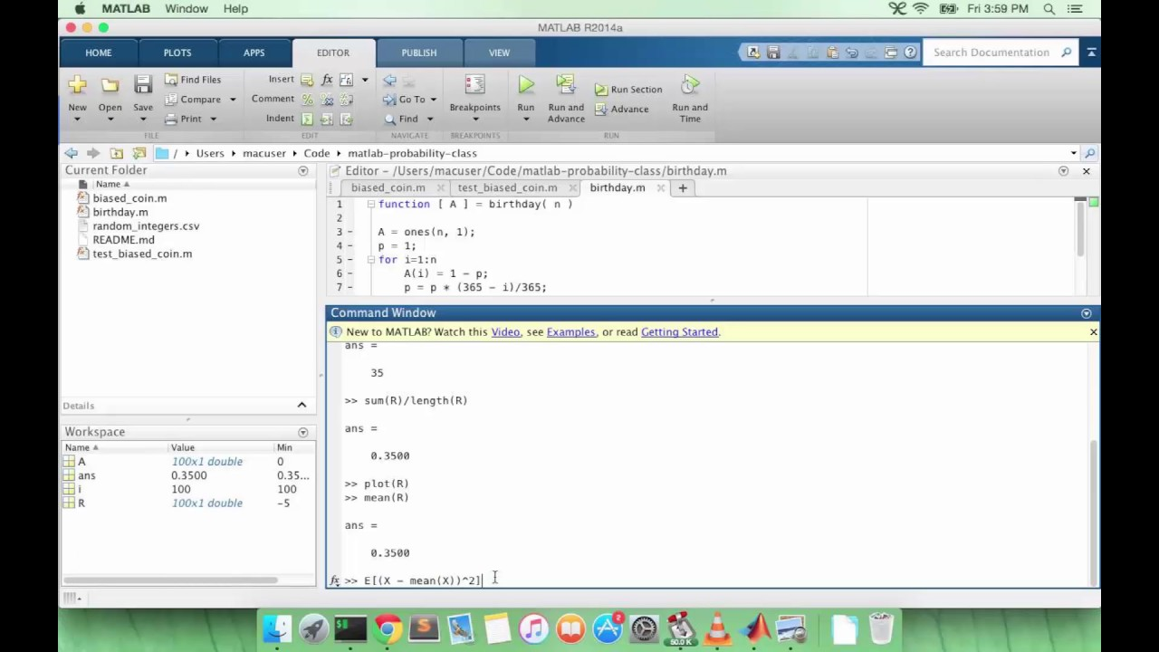 Learn MATLAB Episode #27: Mean and Variance