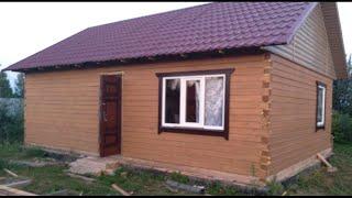 Дом из профилированного бруса своими руками.Простая установка стропил для двускатной крыши .Видео №3