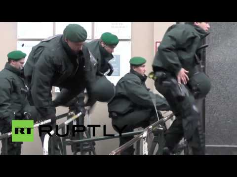 "Germany: Angry and unemployed youth ""Blockupies"" Frankfurt"
