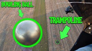 BOWLING BALL VS TRAMPOLINE  200FT DROP