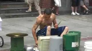 Amazing Street drummer - One of the best i've seen. thumbnail