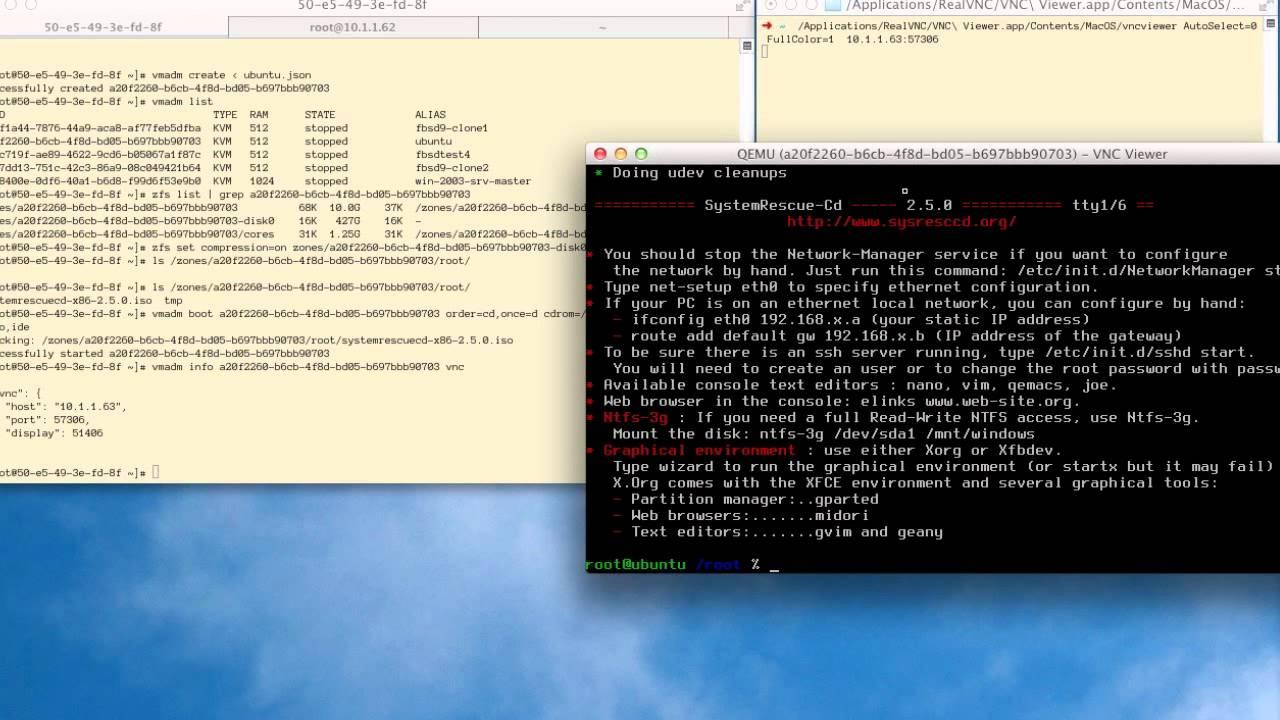 SmartOS KVM Screencast - bare metal migration