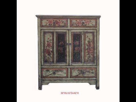 Chinese Antique Flower Hand Painting Side Storage Cbinet WK2606