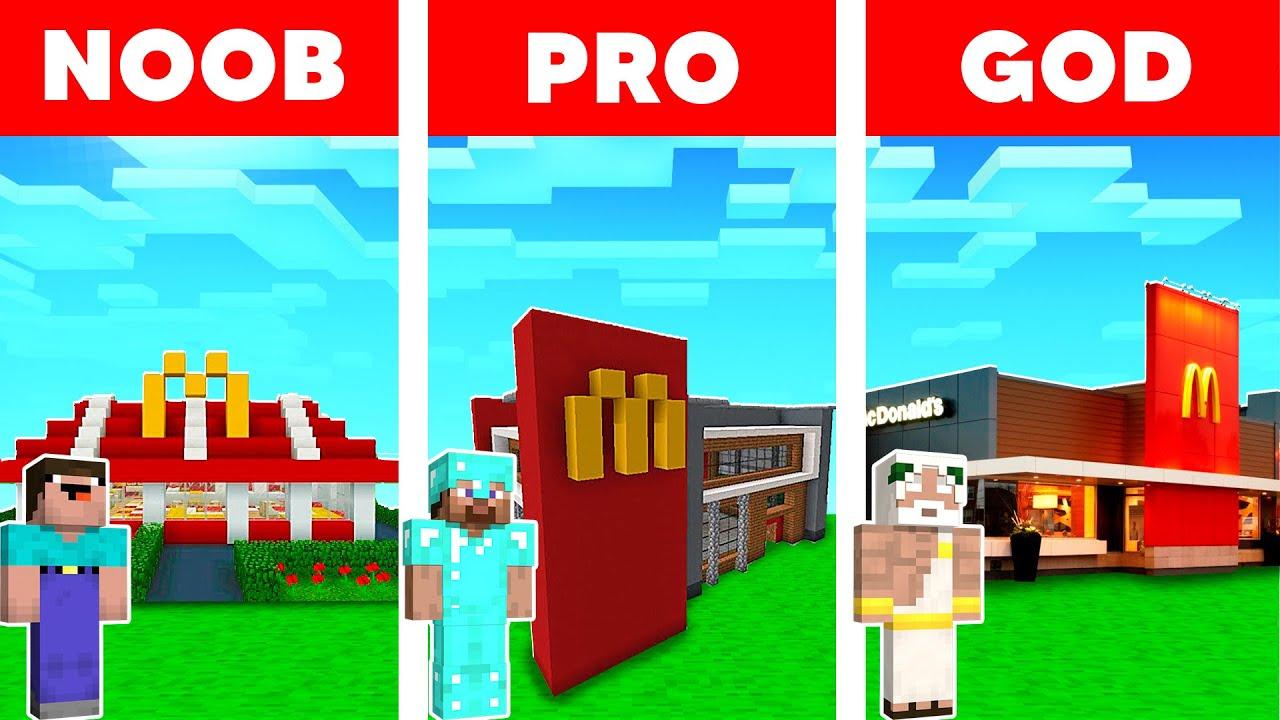 Minecraft NOOB vs PRO vs HACKER - MCDONALD'S HOUSE BUILD CHALLENGE - Baby Shark Animation