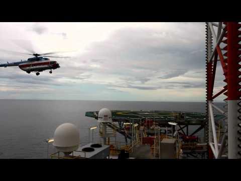 Russian Mi-17 helicopter lands on an oil platform off Vietnam