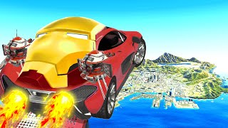 Jumping IRON MAN CARS Across GTA 5! (Impossible!)