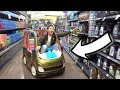 SHOPPING IN A TOY CAR!