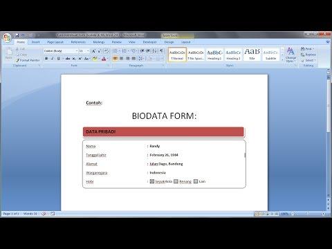 Belajar Microsoft Word 2007 Cara Membuat Blanko Form Formulir Data