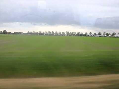 Netherlands on train: flat landscape