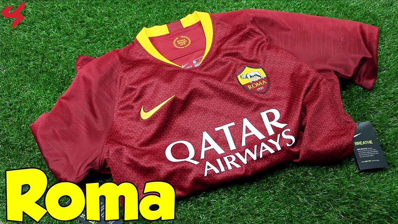 bbc9bbb3aa5 Nike AS Roma 2018 19 Home Soccer Jersey Unboxing + Review - YouTube