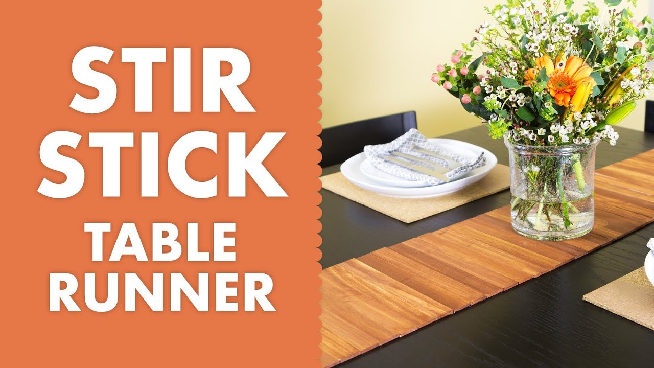 DIY Paint Stir Stick Wood Table Runner Tutorial   YouTube