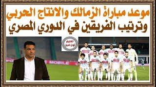موعد مباراة الزمالك والانتاج الحربى اليوم الأحد 14-1-2018 وترتيب وتشكيل الفريقين
